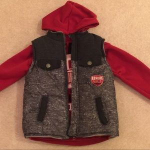 Fire truck hoodie with puffer vest size 4T